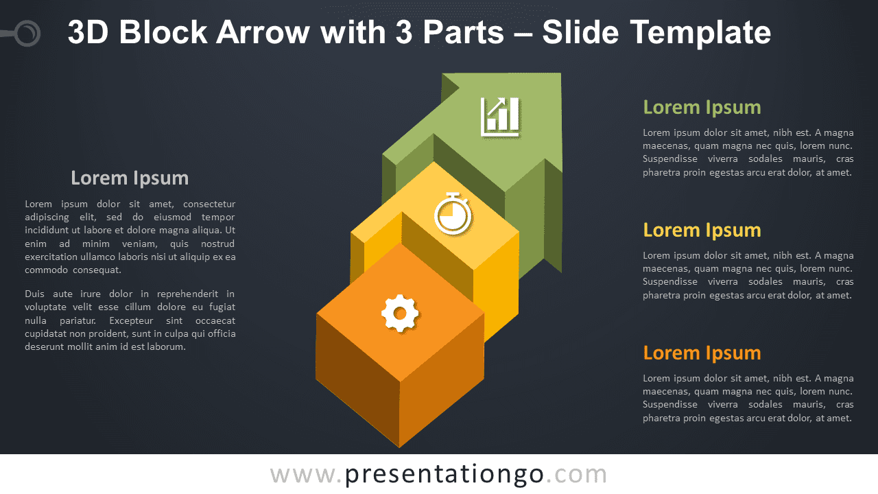 Free Block Arrow with 3 Parts Graphics for PowerPoint and Google Slides