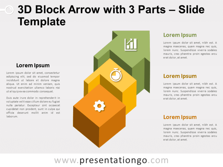 Free Block Arrow with 3 Parts for PowerPoint