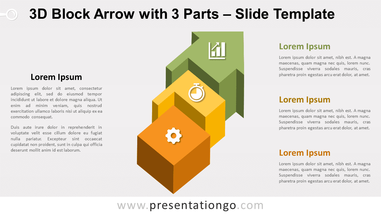 Free Block Arrow with 3 Parts for PowerPoint and Google Slides