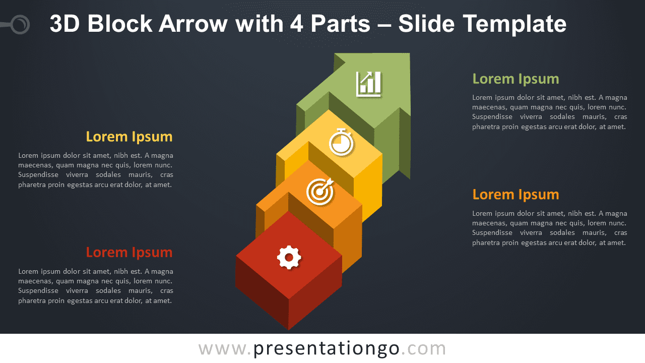 Free Block Arrow with 4 Parts Graphics for PowerPoint and Google Slides