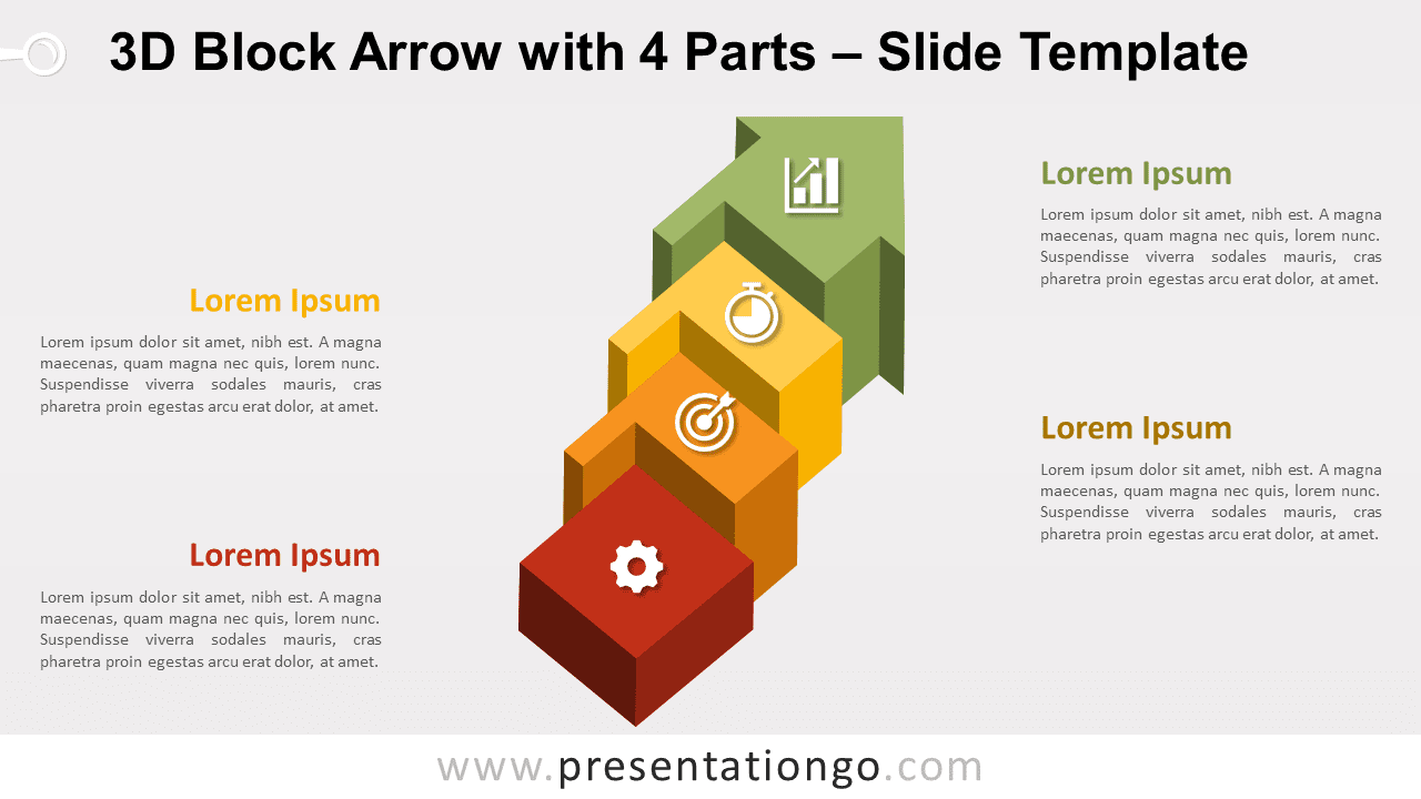 Free Block Arrow with 4 Parts for PowerPoint and Google Slides