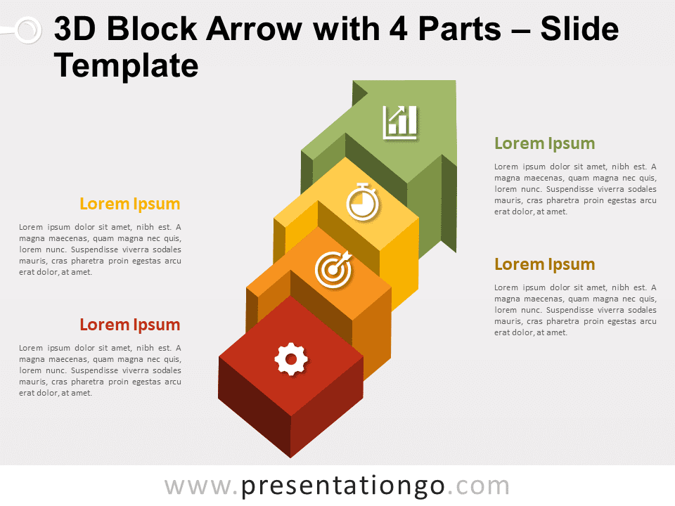Free Block Arrow with 4 Parts for PowerPoint