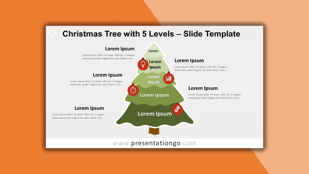 Free Christmas Tree with 5-levels for powerpoint and google slides