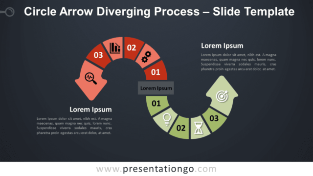 Free Circle Arrow Diverging Process Graphics for PowerPoint and Google Slides