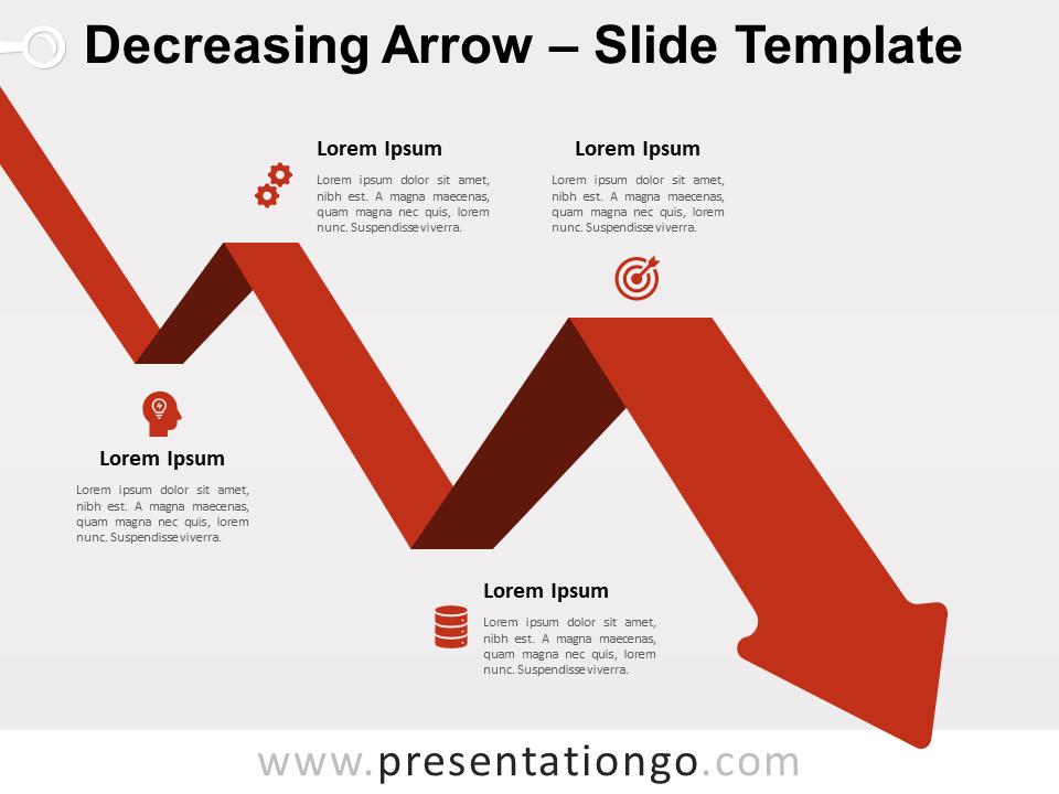Free Decreasing Arrow for PowerPoint