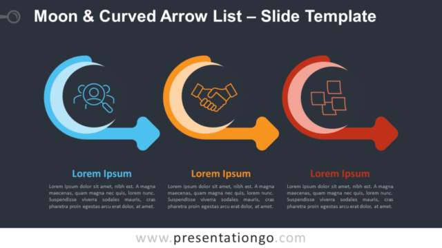 Free Moon & Curved Arrow List Graphics for PowerPoint and Google Slides