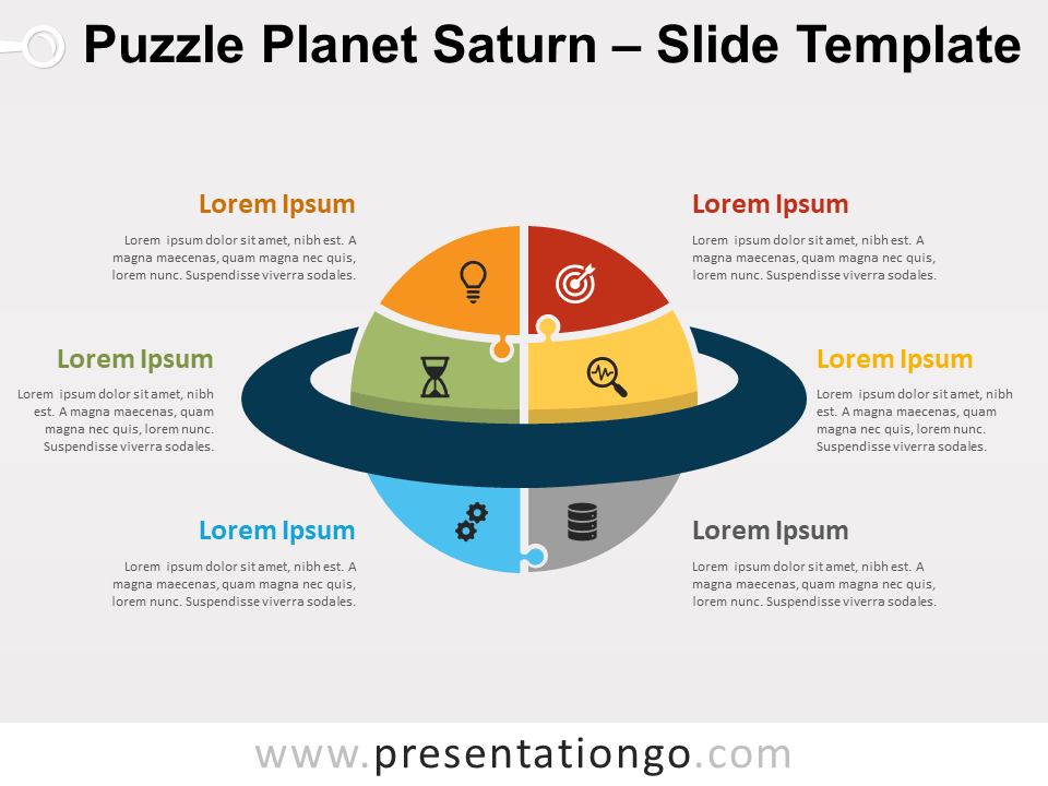 Free Puzzle Planet Saturn for PowerPoint