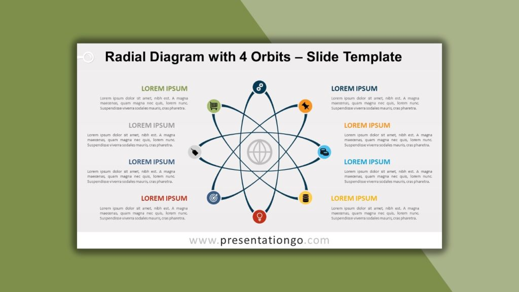 Free Radial Diagram with 4 Orbits for PowerPoint and Google Slides