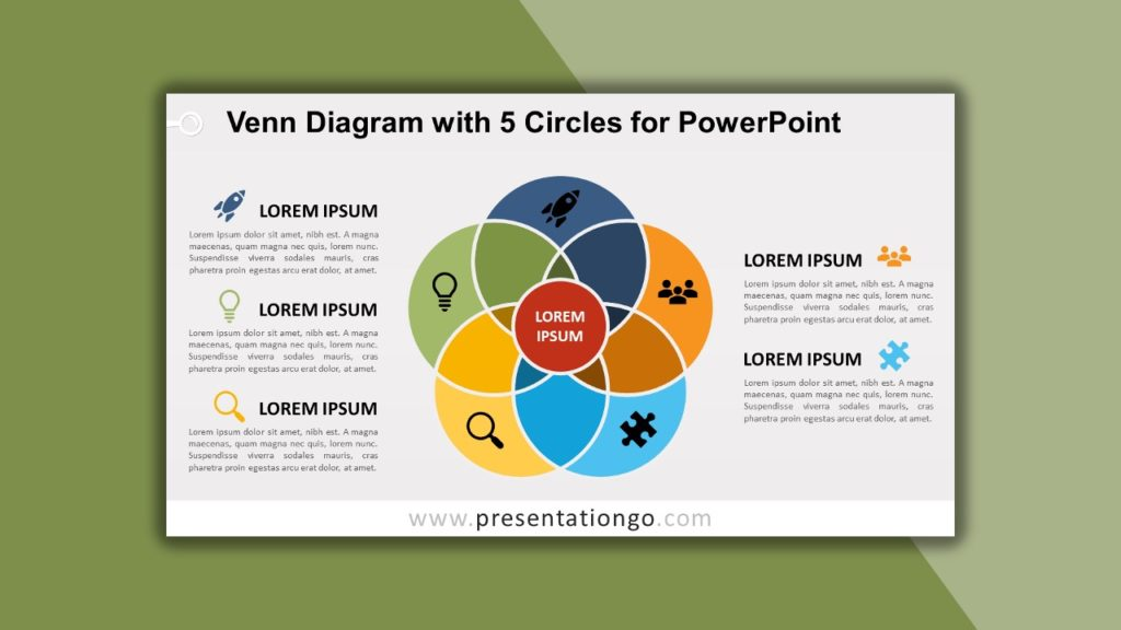 Free Venn Diagram with 5 Circles for PowerPoint and Google Slides