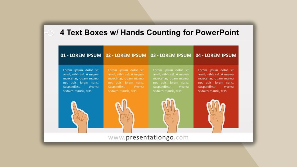 Free 4 Text Boxes with Hands Counting for powerpoint and google slides