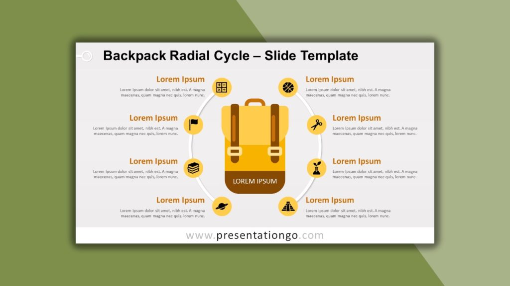 Free Backpack Radial Cycle for PowerPoint and Google Slides
