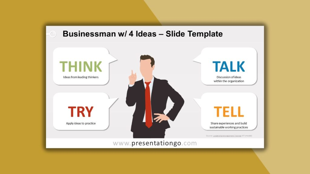 Free Businessman with 4 Ideas for powerpoint and google slides