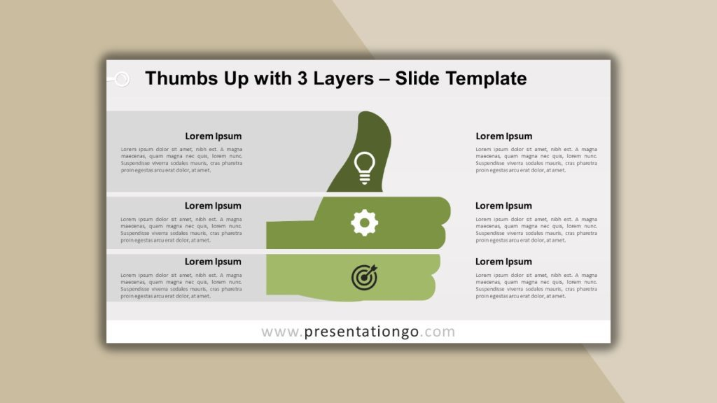 Free Thumbs Up with 3 Layers for powerpoint and google slides