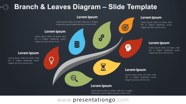 Free Branch Leaves Diagram Graphics for PowerPoint and Google Slides