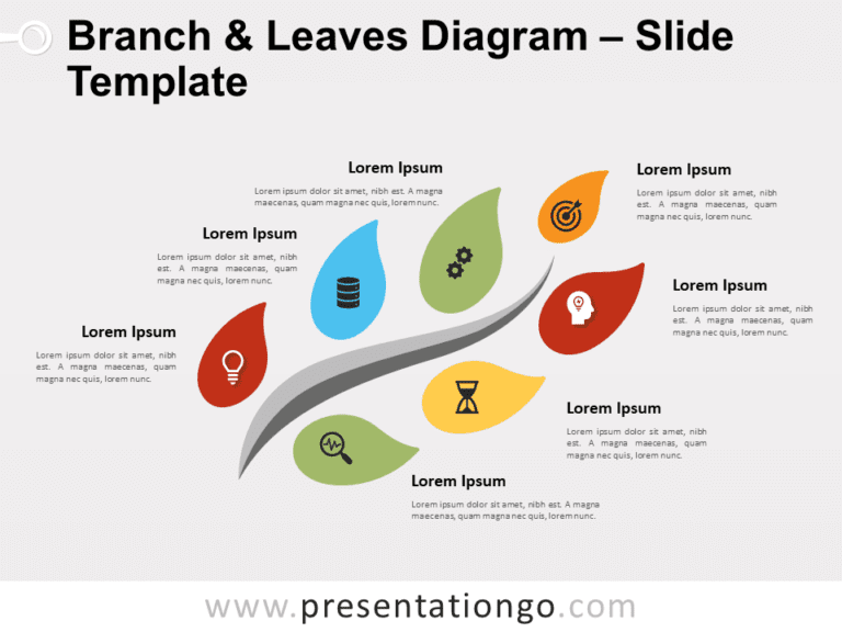 Free Branch Leaves Diagram for PowerPoint