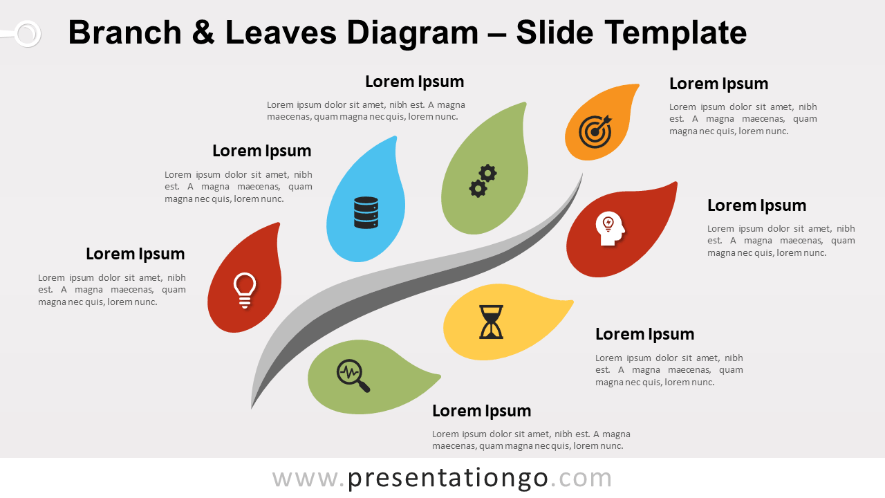 Free Branch Leaves Diagram for PowerPoint and Google Slides